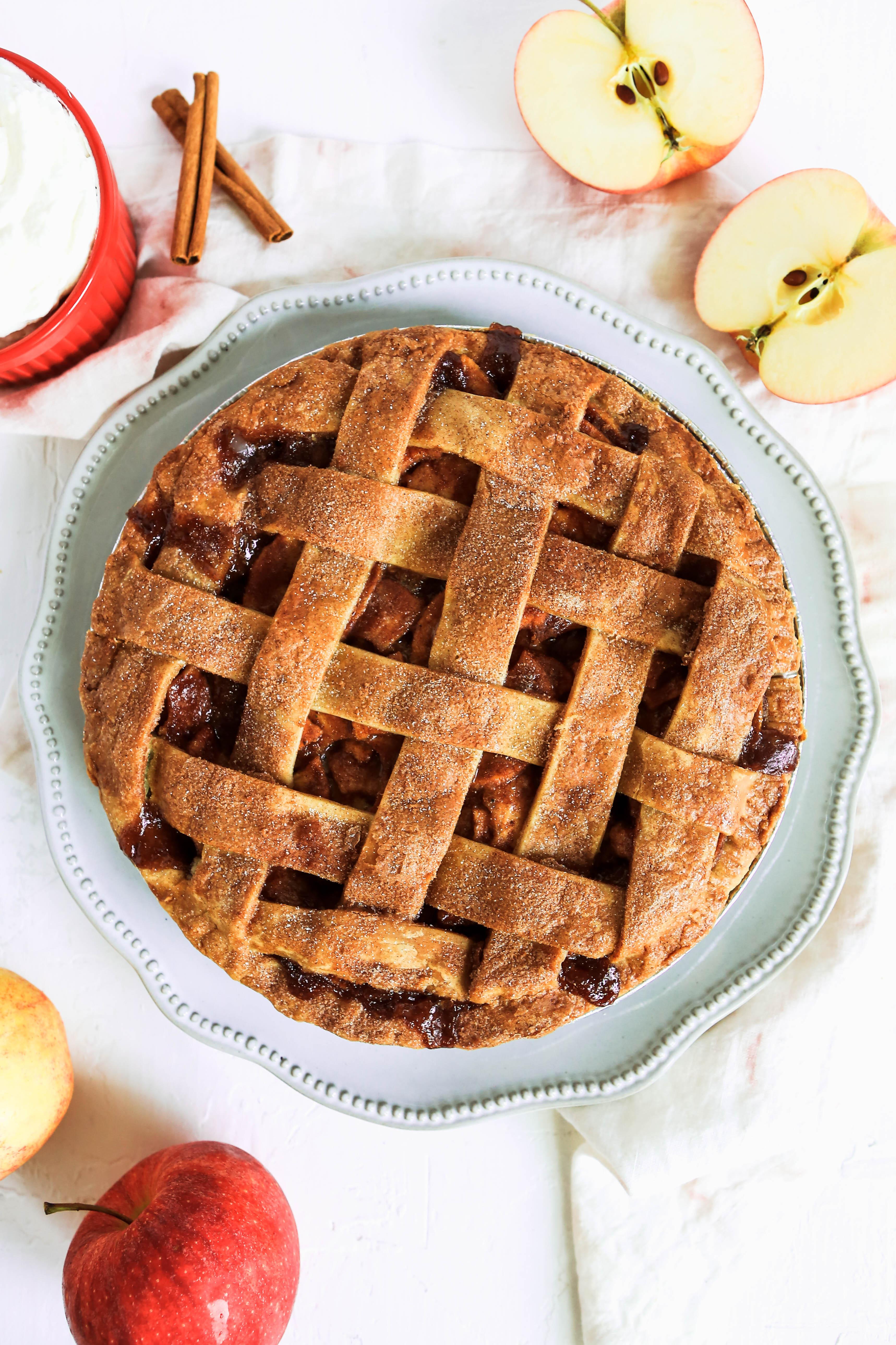 Full apple pie with lattice top