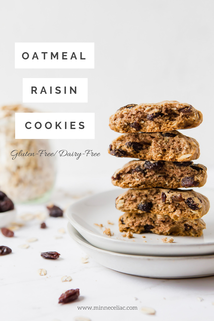 Pinterest graphic displaying the title of the recipe as oatmeal raisin cookies, gluten-free and dairy-free