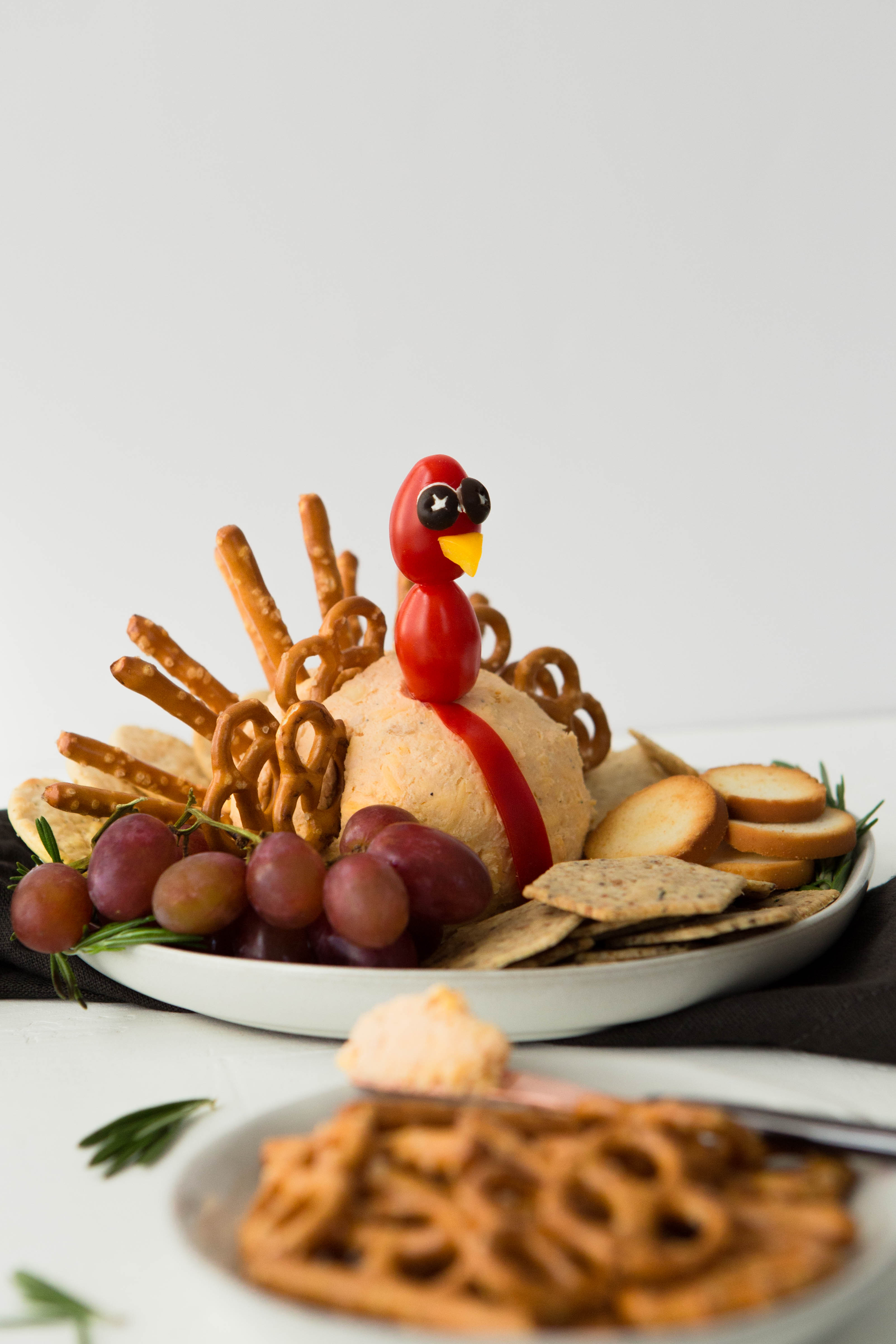 A cheeseball shaped into a ball with baby tomatoes on a stick to make it look like a turkey head. Pretzel twists and sticks are stuck in the back of the cheeseball to make it look like turkey feathers.