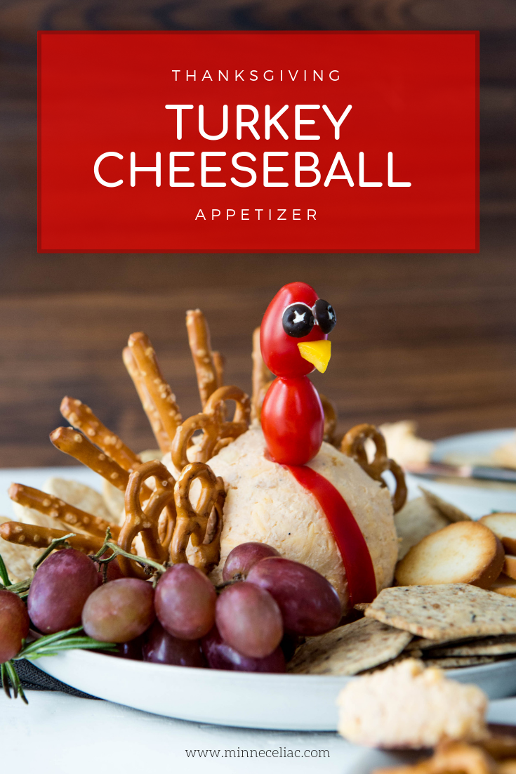 Pinterest graphic explaining wha the recipe is. Cheeseball shared like a turkey. Pretzel twists and sticks placed in a fan shape in the back look like turkey feathers.