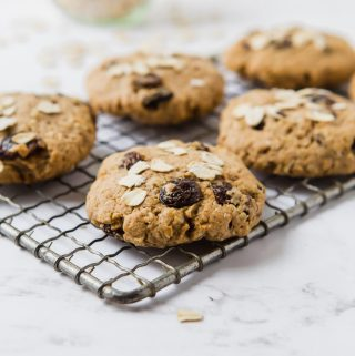 Six oatmeal raisin cookies placed on an old silver cooling rack The emphasis is on one cookie into front center.