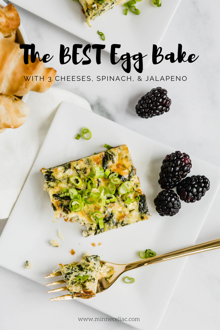 Pinterest graphic of a slice of egg bake on a square plate. A few blackberries and croissants surround the plate.