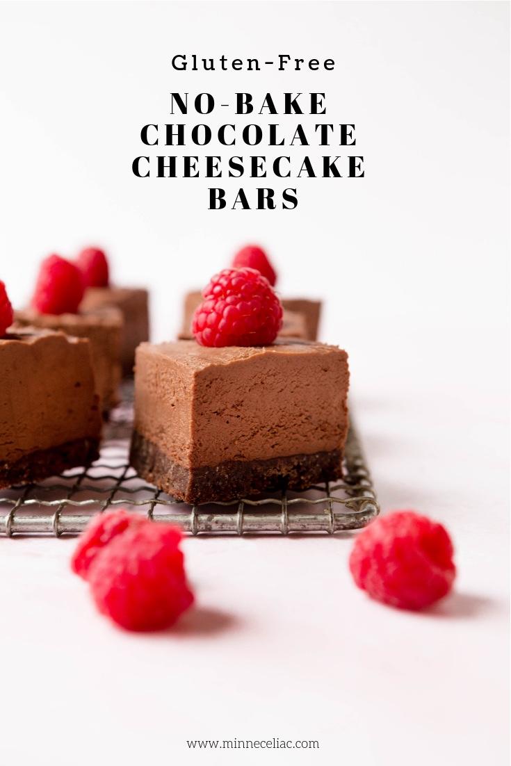 Pinterest graphic for gluten-free chocolate cheesecake bars.