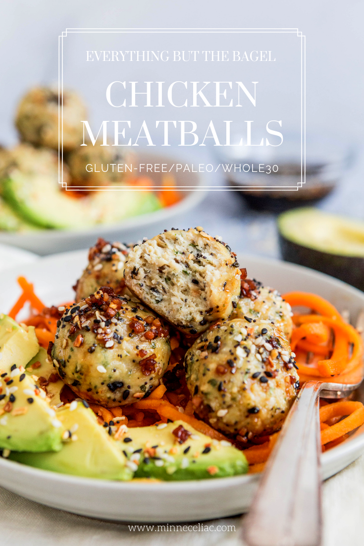 Pinterest image of chicken meatballs flavored with everything but the bagel seasoning.