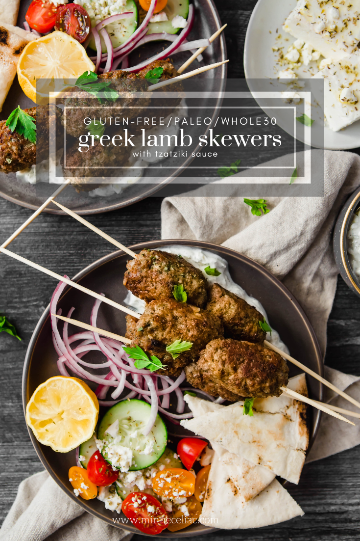 A Pinterest graphic for Greek lamb skewers.