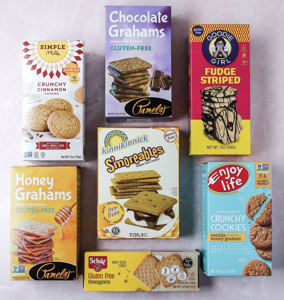 Graphic of gluten-free cookies/crackers for s'mores.