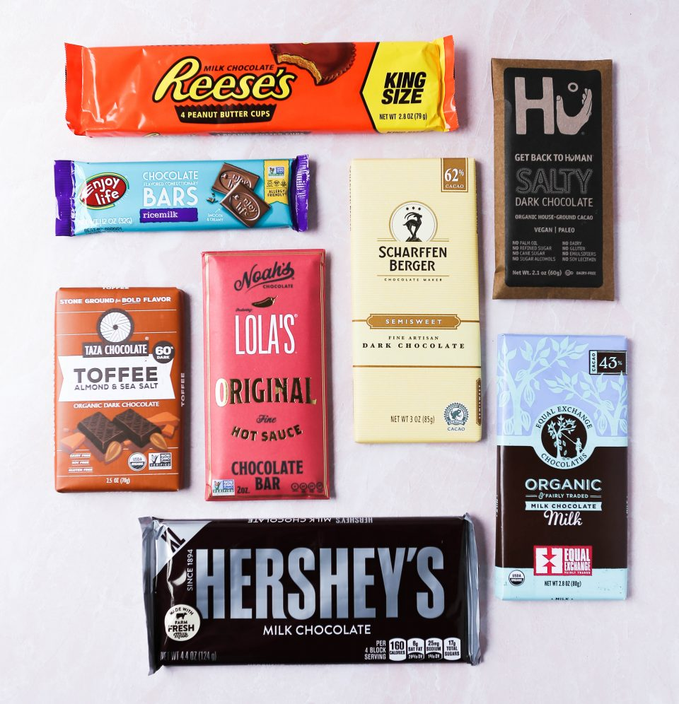 Graphic of different types/flavors of chocolate bars that can be used for gluten-free s'mores.